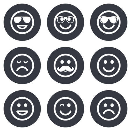 happy sad: Smile icons. Happy, sad and wink faces signs. Sunglasses, mustache and laughing lol smiley symbols. Gray flat circle buttons. Vector
