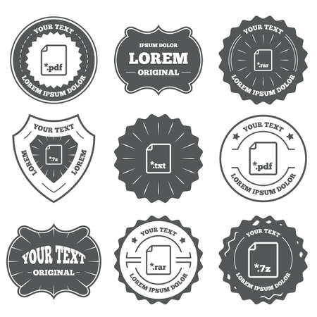 txt: Vintage emblems, labels. Download document icons. File extensions symbols. PDF, RAR, 7z and TXT signs. Design elements. Vector