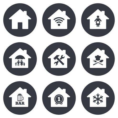 air hammer: Real estate icons. Home insurance, maternity hospital and wifi internet signs. Restaurant, service and air conditioning symbols. Gray flat circle buttons. Vector Illustration