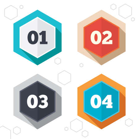 first steps: Hexagon buttons. Step one, two, three and four icons. Sequence of options symbols. Loading process signs. Labels with shadow. Vector Illustration