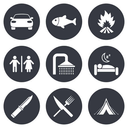 sleeping car: Hiking travel icons. Camping, shower and wc toilet signs. Tourist tent, fork and knife symbols. Gray flat circle buttons. Vector