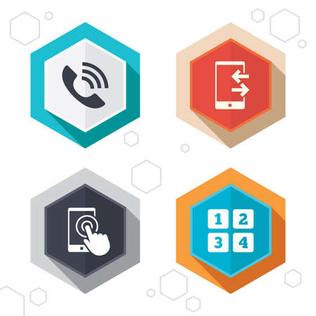 touch screen phone: Hexagon buttons. Phone icons. Touch screen smartphone sign. Call center support symbol. Cellphone keyboard symbol. Incoming and outcoming calls. Labels with shadow. Vector