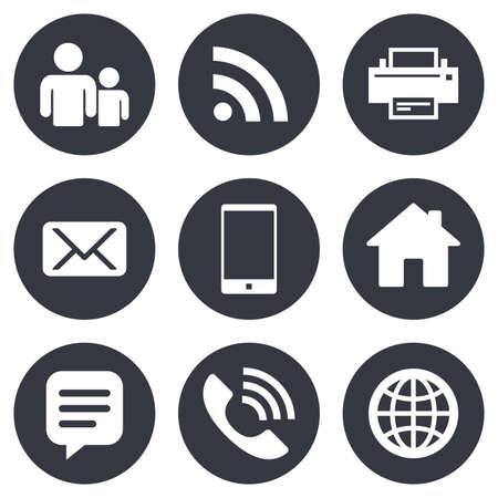 komunikacja: Kontakt, mail ikony. Znaki komunikacyjne. E-mail, czat symboli wiadomości i połączeń telefonicznych. Szare płaskie przyciski koło. Wektor