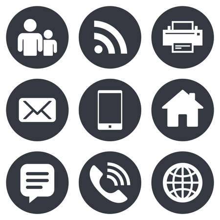 Contact, mail icons. Communication signs. E-mail, chat message and phone call symbols. Gray flat circle buttons. Vector