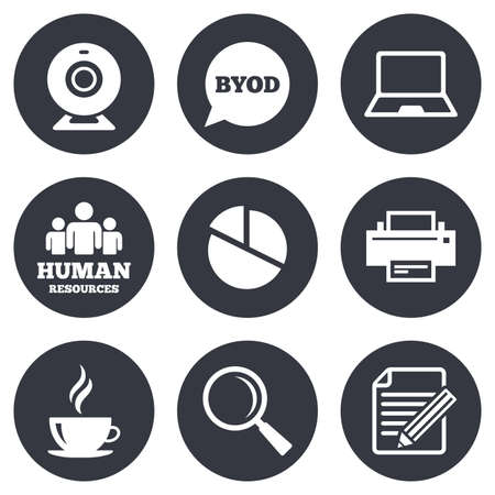 office buttons: Office, documents and business icons. Pie chart, byod and printer signs. Report, magnifier and web camera symbols. Gray flat circle buttons. Vector