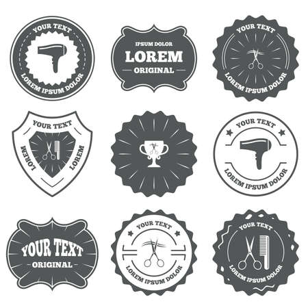 blow drying: Vintage emblems, labels. Hairdresser icons. Scissors cut hair symbol. Comb hair with hairdryer symbol. Barbershop winner award cup. Design elements. Vector Illustration