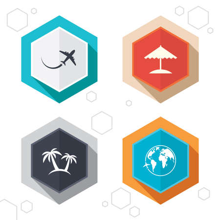 world  hexagon: Hexagon buttons. Travel trip icon. Airplane, world globe symbols. Palm tree and Beach umbrella signs. Labels with shadow. Vector Illustration
