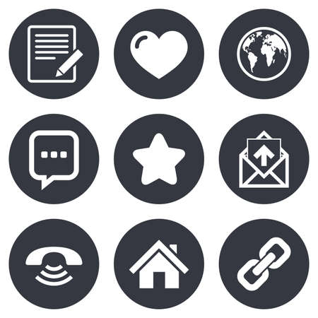email icons: Mail, contact icons. Favorite, like and internet signs. E-mail, chat message and phone call symbols. Gray flat circle buttons. Vector
