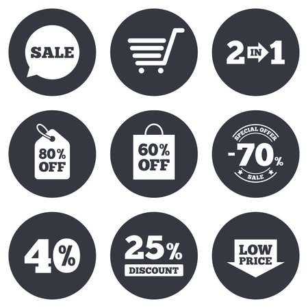 low price: Sale discounts icon. Shopping cart, coupon and low price signs. 25, 40 and 60 percent off. Special offer symbols. Gray flat circle buttons. Vector Stock Illustratie
