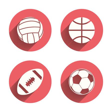 voleibol: Bolas del deporte iconos. Voleibol, Baloncesto, Fútbol y los signos de fútbol americano. Juegos de deporte de equipo. Círculos rosados ??botones planos con sombra. Vector