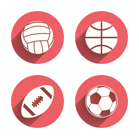 volleyball: Sport balls icons. Volleyball, Basketball, Soccer and American football signs. Team sport games. Pink circles flat buttons with shadow. Vector