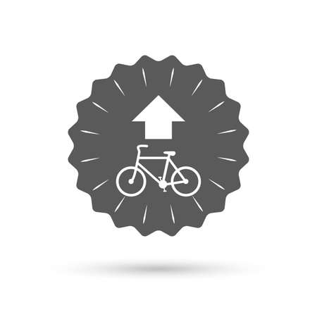 straight path: Vintage emblem medal. Bicycle path trail sign icon. Cycle path. Up straight arrow symbol. Classic flat icon. Vector Illustration