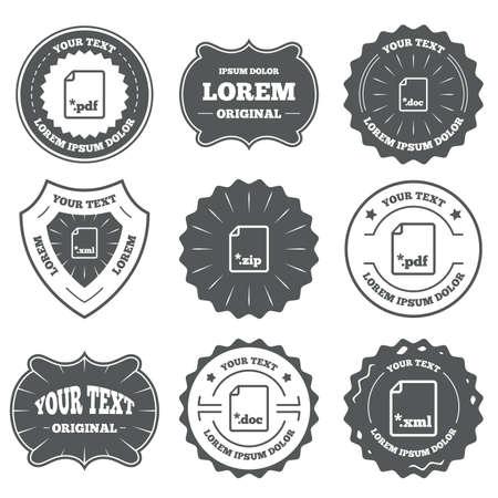 zipped: Vintage emblems, labels. Download document icons. File extensions symbols. PDF, ZIP zipped, XML and DOC signs. Design elements. Vector Illustration