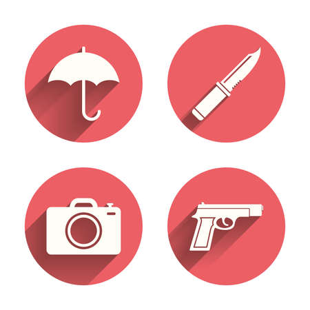 edged: Gun weapon icon.Knife, umbrella and photo camera signs. Edged hunting equipment. Prohibition objects. Pink circles flat buttons with shadow. Vector