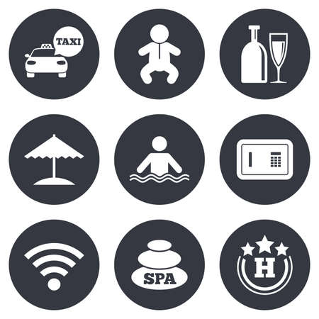 strongbox: Hotel, apartment service icons. Spa, swimming pool signs. Alcohol drinks, wifi internet and safe symbols. Gray flat circle buttons. Vector
