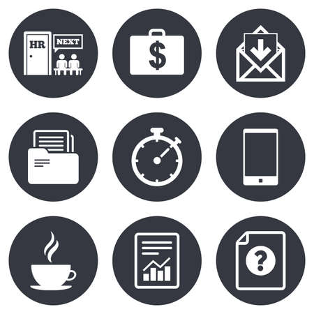 Office, documents and business icons. Accounting, human resources and phone signs. Mail, salary and statistics symbols. Gray flat circle buttons. Vector