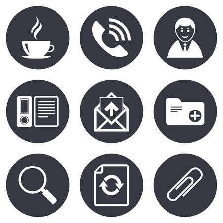 office documents: Office, documents and business icons. Coffee, phone call and businessman signs. Safety pin, magnifier and mail symbols. Gray flat circle buttons. Vector Illustration