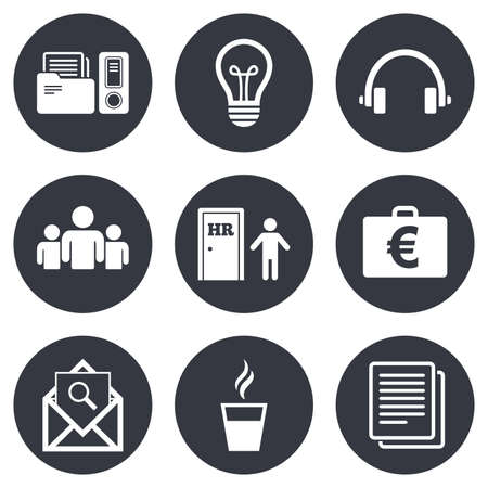 office documents: Office, documents and business icons. Accounting, human resources and group signs. Mail, ideas and money case symbols. Gray flat circle buttons. Vector