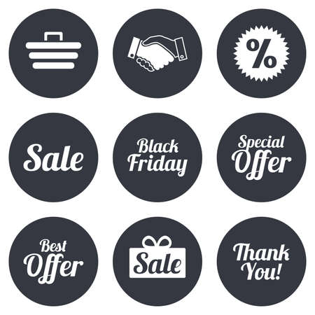 you are special: Sale discounts icon. Shopping, handshake and black friday signs. Special offer symbols. Gray flat circle buttons. Vector