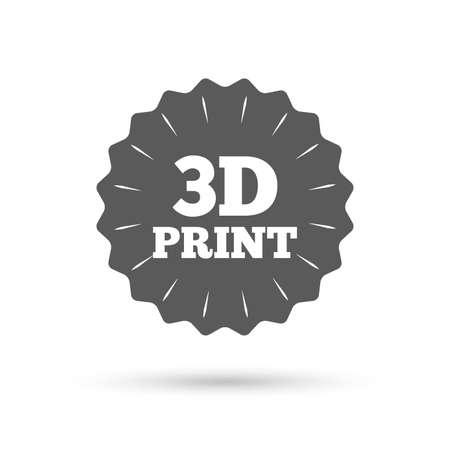 additive manufacturing: Vintage emblem medal. 3D Print sign icon. 3d Printing symbol. Additive manufacturing. Classic flat icon. Vector