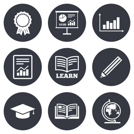 background information: Education and study icon. Presentation signs. Report, analysis and award medal symbols. Gray flat circle buttons. Vector