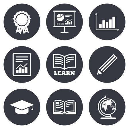 La educación y el icono del estudio. signos de presentación. Informes, análisis y Medalla de ganadores de los símbolos. botones de círculo planas grises. Vector