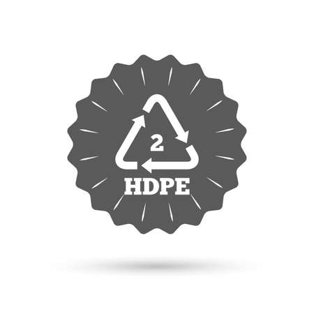 thermoplastic: Vintage emblem medal. Pe-hd 2 icon. Polyethylene high-density sign. Recycling symbol. Classic flat icon. Vector Illustration