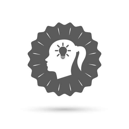 pigtail: Vintage emblem medal. Head with lamp bulb sign icon. Female woman human head idea with pigtail symbol. Classic flat icon. Vector Illustration