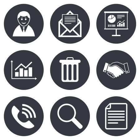 office documents: Office, documents and business icons. Businessman, handshake and call signs. Chart, presentation and mail symbols. Gray flat circle buttons. Vector Illustration