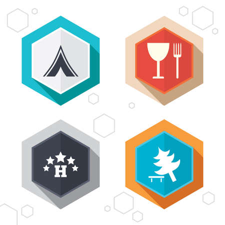 fork in road: Hexagon buttons. Food, hotel, camping tent and tree icons. Wineglass and fork. Break down tree. Road signs. Labels with shadow. Vector