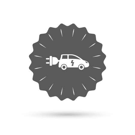 hatchback: Vintage emblem medal. Electric car sign icon. Hatchback symbol. Electric vehicle transport. Classic flat icon. Vector Illustration