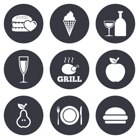 food drink: Food, drink icons. Grill, burger and ice cream signs. Chicken, champagne and apple symbols. Gray flat circle buttons. Vector