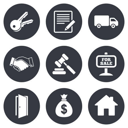 pencil symbol: Real estate, auction icons. Handshake, for sale and money bag signs. Keys, delivery truck and door symbols. Gray flat circle buttons. Vector Illustration