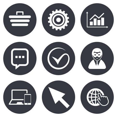 mysz: Internet, ikony SEO. Należy zaznaczyć, zakupy online i wykres znaki. anonimowym użytkownikiem, urządzenia mobilne i symbole czatu. Szare płaskie przyciski okrąg. Wektor Ilustracja