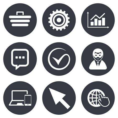 Internet, seo icons. Tick, online shopping and chart signs. Anonymous user, mobile devices and chat symbols. Gray flat circle buttons. Vector