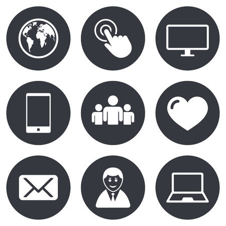mail: Web, mobile devices icons. Share, mail and like signs. Laptop, phone and monitor symbols. Gray flat circle buttons. Vector Illustration