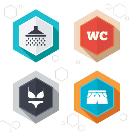 women in underwear: Hexagon buttons. Swimming pool icons. Shower water drops and swimwear symbols. WC Toilet sign. Trunks and women underwear. Labels with shadow. Vector