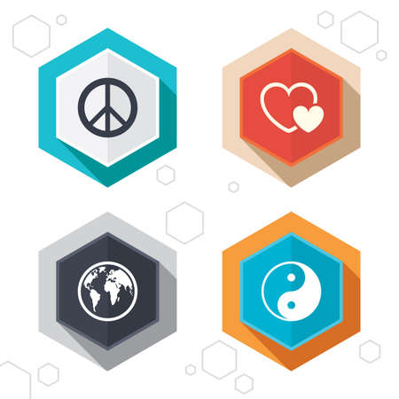world  hexagon: Hexagon buttons. World globe icon. Ying yang sign. Hearts love sign. Peace hope. Harmony and balance symbol. Labels with shadow. Vector