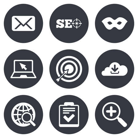 checklist: Internet, seo icons. Checklist, target and mail signs. Mask, download cloud and magnifier symbols. Gray flat circle buttons. Vector