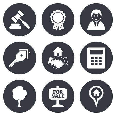 mortgage: Real estate, auction icons. Handshake, for sale and calculator signs. Key, tree and award medal symbols. Gray flat circle buttons. Vector Illustration