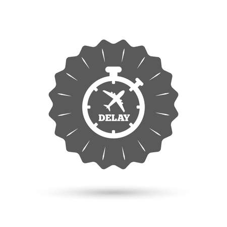 delayed: Vintage emblem medal. Delayed flight sign icon. Airport delay timer symbol. Airplane icon. Classic flat icon. Vector