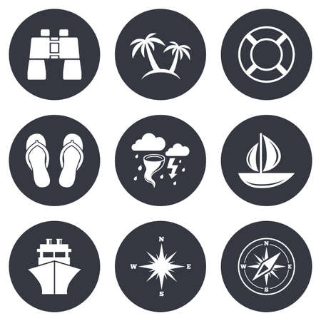 rose tree: Cruise trip, ship and yacht icons. Travel, lifebuoy and palm trees signs. Binoculars, windrose and storm symbols. Gray flat circle buttons. Vector Illustration