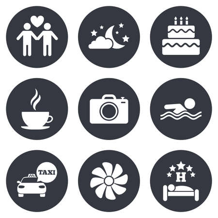 sleeping car: Hotel, apartment service icons. Swimming pool. Ventilation, birthday party and gay-friendly symbols. Gray flat circle buttons. Vector