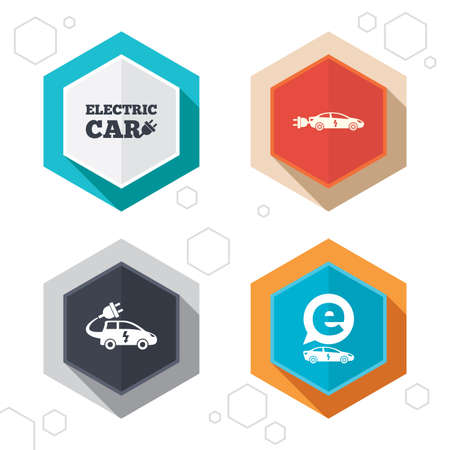 sedan: Hexagon buttons. Electric car icons. Sedan and Hatchback transport symbols. Eco fuel vehicles signs. Labels with shadow. Vector