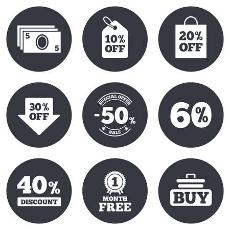 40 50: Sale discounts icon. Shopping cart, buying and cash money signs. 40, 50 and 60 percent off. Special offer symbols. Gray flat circle buttons. Vector