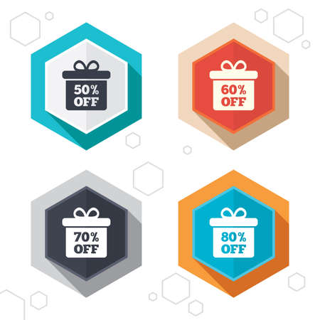 50 to 60: Hexagon buttons. Sale gift box tag icons. Discount special offer symbols. 50%, 60%, 70% and 80% percent off signs. Labels with shadow. Vector Illustration