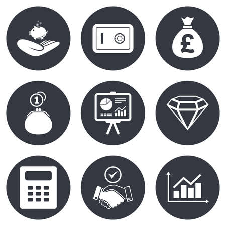 apreton de manos: Dinero, dinero en efectivo y las finanzas iconos. Signos del apretón de manos, seguras y calculadora. Símbolos gráficos, seguras y joyería. Gray botones de círculo planas. Vector