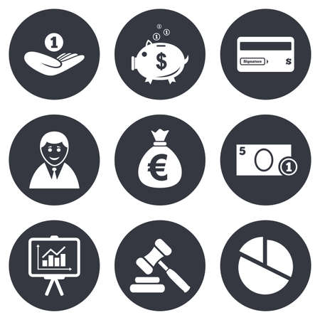 auction: Money, cash and finance icons. Piggy bank, credit card and auction signs. Presentation, pie chart and businessman symbols. Gray flat circle buttons. Vector