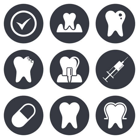 periodontal: Tooth, dental care icons. Stomatology, syringe and implant signs. Healthy teeth, caries and pills symbols. Gray flat circle buttons. Vector Illustration