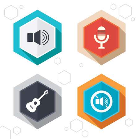 no edges: Hexagon buttons. Musical elements icons. Microphone and Sound speaker symbols. No Sound and acoustic guitar signs. Labels with shadow. Vector